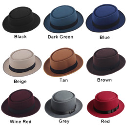 Blue felt hat online shopping - Unisex Classic Felt Pork Pie Porkpie Hat Cap Upturn Short Brim Black Ribbon Band