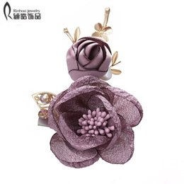 Cloth Bouquet Australia - Antique Gold Cloth Flower Brooches for Women Romantic Wedding Bridesmaid Party Bouquet Brooch Pin Corsage Gift