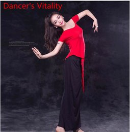 $enCountryForm.capitalKeyWord NZ - Girls Belly Dance Short Sleeves Cut out Round Neck T-shirt Top and Pants Competition Practice Costume for Women Belly Rumba Tango Samba Danc