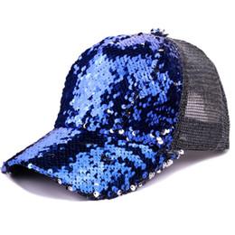 7ae9d864d41a6 Bicolor Mermaid Sequin Baseball Caps Women Mesh Breathable Trucker Hats  Ladies Adjustable Hip Hop Dad Cap Men Snapback Hat