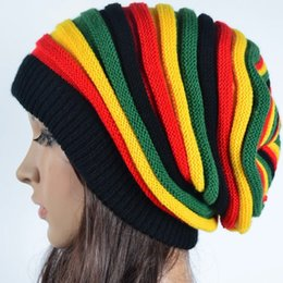 b4df7c071ba88 Free Shipping 2018 Winter Hip Hop Bob Marley Jamaican Rasta Reggae  Multi-colour Striped Beanie Hats For Mens Women