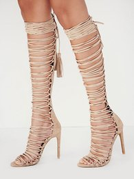 1f96828799a4 Strappy knee high gladiator SandalS online shopping - Women shoes Pumps high  heeled strappy sandals export