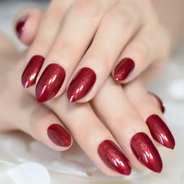 $enCountryForm.capitalKeyWord NZ - Claret-red False Nails Almond Oval Stiletto Sharp Shimmer Burgundy Red Fake Nail Pointed Full Cover UV Gel Wear Nep Nagels
