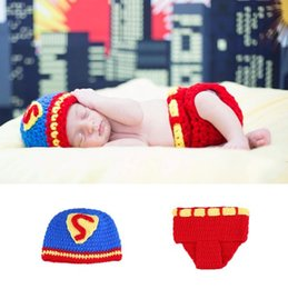 Props Hats Australia - Newborn Superman Costume for Photo Shoot Knitted Baby Hat and Diaper Set Photography Props Infant Shower Gift