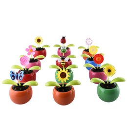 car styling solar power flip flap flower for car swing dancing flower toy  interior ornaments(ship random)