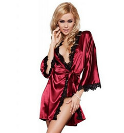 Discount hot lingerie kimono - Hot Women sexy Nightwear Satin Lace Lingerie Sleepwear Robes Intimate night Gown Robes Kimono Exotic Apparel Babydolls C