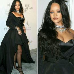 Rihanna daRk gReen dRess online shopping - 2018 Rihanna Formal Dresses  Sweetheart Long Sleeve High Low 08dd5defc