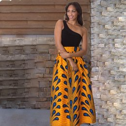 38c19059d517 2018 sexy peacock pattern beach pleated African style ladies dress casual  sleeveless V-neck night dress skirt
