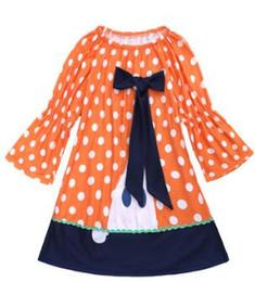 775b8f228 Corbata de color naranja online-Vestido de niña de 2018 Halloween   cinta  de pajarita