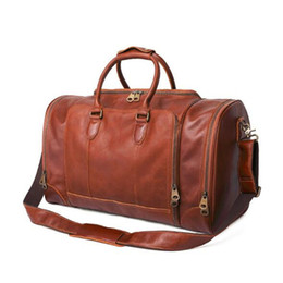 $enCountryForm.capitalKeyWord UK - Luxury Large Capacity Retro Genuine Leather Duffel Bag Vintage Outdoor Travel Luggage Bag Full Grain Leather Handbag Cross Body Bag