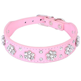 Dog Collars Bling NZ - Cute Bling Diamante Rhinestone Flowers Dog Collar Small Pet Cat Puppy PU Leather Collar Necklace Buckle Pet Products