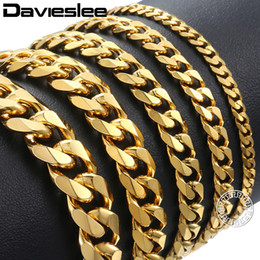 $enCountryForm.capitalKeyWord Canada - Davieslee Mens Bracelet Chain Polished Stainless Steel Silver Black Gold Chains Bracelet for Men Cuban Link 3 5 7 9 11mm KBM218