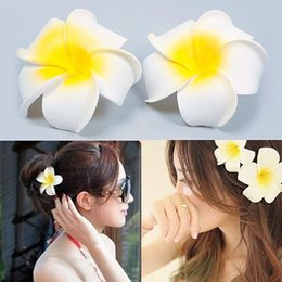 $enCountryForm.capitalKeyWord NZ - 2 Pcs Hawaiian Foam Flower Bridal Wedding Party Hair Clip White Plumeria Decor