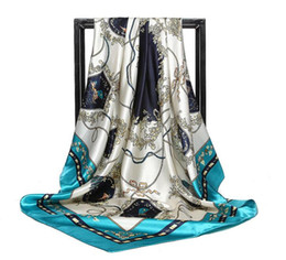 Discount satin silk square hijab - 2018 Spring New Women Imitation of the rope Silk-Satin Head Square Hijab Scarf Print Beach Shawl Wraps Scarves 90cm*90cm