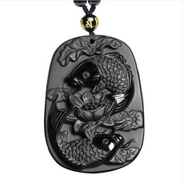 $enCountryForm.capitalKeyWord UK - Fine carving Obsidian two fish and lotus black Obsidian pendant men's jewelry