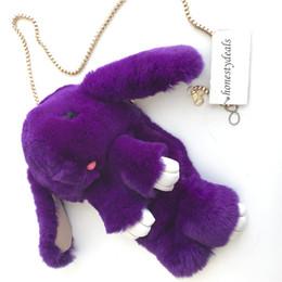 $enCountryForm.capitalKeyWord Canada - Dark Purple-Cute Real Rex Rabbit Fur Bunny Doll Backpack Shoulder Messenger Bag Handbag Purse