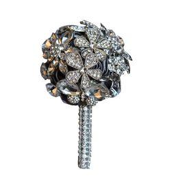 $enCountryForm.capitalKeyWord UK - 4 Colors Wedding Grooms Brooch Boutonniere Ivory Rhinestone Wrist Corsage Groomsmen Buttonhole Prom Crystal Pin Accessories