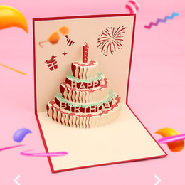 Originality 3D Three Dimensional Paper Birthday Colour Cake Hollow Out Greeting Cards Blessing Festival Business Gift Card 3qm Gg NZ121