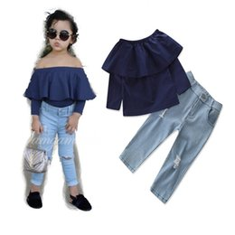 Clothing Baby Jeans Set Girls Canada - Kids Girls Sets 2-7T Baby Girl Off Shoulder Shirts + Jeans 2pcs Suits 2018 New Spring Toddler Infant Princess Outfits Children Clothes D319