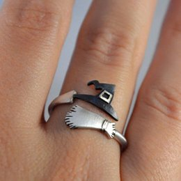 Wholesale Halloween Witch Hat Broom Pumpkin Ring Sets for Women Silver Color Cute Unique Knuckle Rings Girls Trendy Jewelry