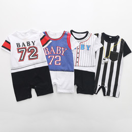 clothes japan 2018 - Baby Boy Jumpsuit Newborn Rompers Toddler Sport Clothes Children Clothing kids tracksuit Baseball American Japan cheap c