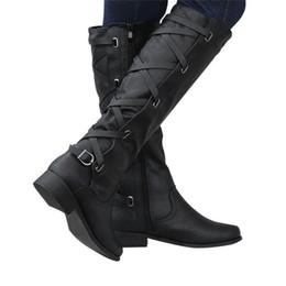 1d120a4ee Mulher Senhoras Fivela Romano Montar Na Altura Do Joelho Botas De Inverno  Cowboy Alta Martin Martin Botas Longas