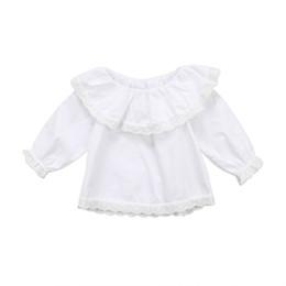 long sleeve ruffled lace blouse 2019 - Cute Newborn Baby Girls Blouse 2018 New Long Sleeve Lace Off Shoulder Fashion Ruffle Tops Casual Clothes 0-2T cheap long