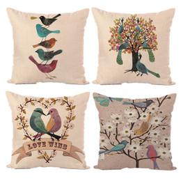 birds car 2019 - New Pillow Cover Hot European Simple Digital Printing Flower Bird Sofa Pillowcase Cushion Cover Car Waist Pillow Case Ho