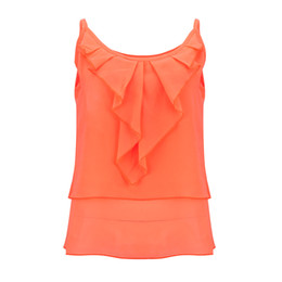 womens sleeveless tops NZ - Fashion Womens Summer Clothes Casual Chiffon Vest Tank Tops Sleeveless Shirt Ruffle Loose Women Top Casual