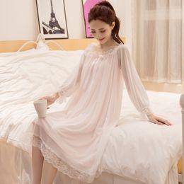 05f989cd9 2018 mujeres sexy camisón de primavera y verano de algodón de manga larga  pijamas S-XL Princess Lace Ladies camisón Sexy ropa interior