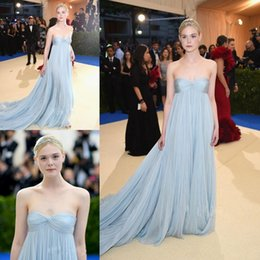 eb9a7034241 2018 Met Gala Pleated Prom Dresses Long Elle Fanning In Light Sky Blue  Strapless Neck Evening Dress Red Carpet Chiffon Celebrity Gowns