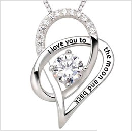Heart Necklaces Silver NZ - I Love You To The Moon and Back Mother Daughter Zircon Heart Shaped 925 Silver Pendant Necklace Jewelry 2252