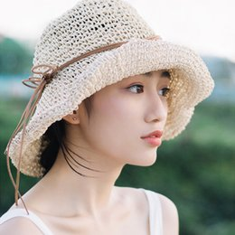 Girls Handmade Sun Hat NZ - new summer Raffia Handmade crochet soft fold Straw sun hat for women girls chapeau femme Beach Hat Mother's Day gift S18101708