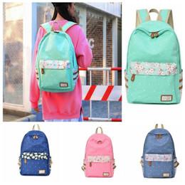 4 design Canvas Flower Printing Backpack School Shoulder Bag For Girls  Rucksacks Student School travel bags KKA5766 460e509deb6e6
