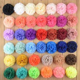 Горячая продажа 40 цветов круглый шифон головной убор цветок детские украшения головы детские DIY ручной работы аксессуары для волос t3c0006