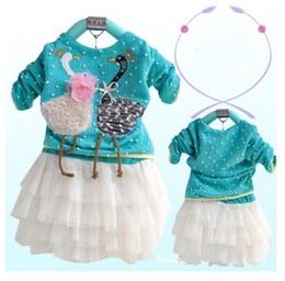 Designs Girls Shirts New Canada - Retail fashion girls suits 2018 new long sleeve t-shirt + children tutu one-piece dress swan design beautiful girls set