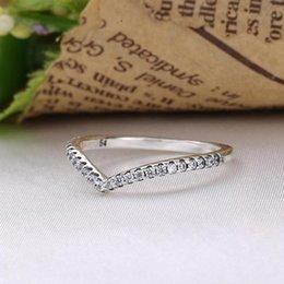 Großhandel Beliebte Ringe S925 Silber passt für Pandora-Stil Shimmering Wish 196316CZ H8ale