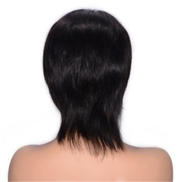 tying machine UK - Malaysian Human Hair Lace Front Wig Natural Color Virgin Straight Hair Wig with Baby Hair 130% Density