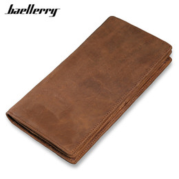 Discount vintage horse purse - Vintage Leather Men Long Wallet Crazy Horse Genuine Leather Men's Wallets Large Capacity  Coin Purses For Office Bag