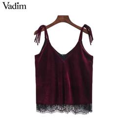 $enCountryForm.capitalKeyWord Canada - Vadim V neck lace patchwork velvet camis vintage tops chic basic shirt tassel straps sleeveless blouse female tank tops WT507