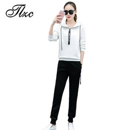 Cool traCksuits women online shopping - Hooded New College Wind Women Hoodies Tracksuits Plus Size M xl Fashion Cool Design Lady Sportwear Hooded Sweatshirts Pant Set Female