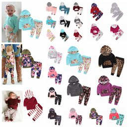 Discount kids floral hoodies - 23styles ins Baby Kids Clothing Set cartoon printed Long Sleeve Hoodie Pants cottom Infant Clothes outfit Floral Striped