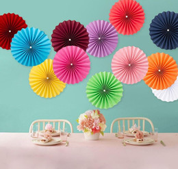 PaPer round flower decoration online shopping - Single Layer Mini Tissue Paper Fan Flowers Wedding Birthday Party Decoration Round Paper Daisy Fan Party Accessory