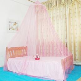 Опт Летние комаров чистые элегантные круглые кружевные кровать кровать навес сетка занавес повесить купол москитная сетка для крытого открытого розового