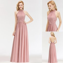 Wholesale Elegant Blush Pink Chiffon Prom Dresses 2019 New Sexy Halter Backless Ruched Pleats Floor Length Formal Evening Party Gown CPS1058