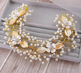 Crystal Plastic Hair Clip Australia - Gold Hair Accessories for Bridal Pearls Leaves with Flowers Elegant Hair Jewelry Hair Clips adornos para el pelo