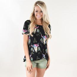 $enCountryForm.capitalKeyWord Canada - Women Bull Skull Shirt flower reindeer short sleeve T-shirt Floral bull skull women clothing reindeer black O-neck girl floral raglans