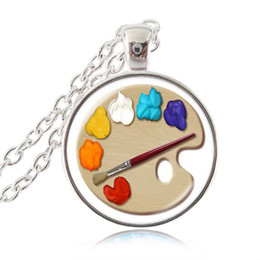 Artist Pendants NZ - Color Palette Necklace Circular Painting Tray Photo Pendant Sweater Chain Fashion Jewelry Glass Cabochon Choker Artists Gifts