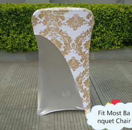 $enCountryForm.capitalKeyWord NZ - 100pcs Gold Or Silver Color Bronzing Coated Lycra Spandex Chair Hood \ Cap For Wedding Chair Cover Decoration SN649