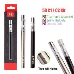 Empty disposablE vaporizEr online shopping - 5S C1 C2 Disposable Vape Pens Starter Kits Vaporizer Thick Oil Empty Pen Cartridges Tanks Ceramic Coil mAh e Cig Battery Original Mjtech